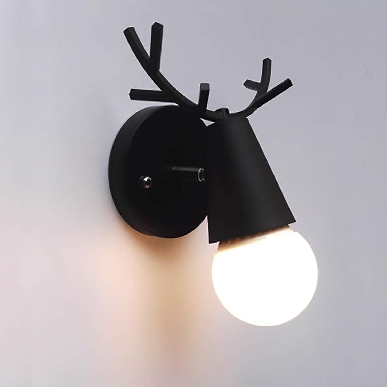 Genuss Kreative Minimalistische Treppe Korridor Gang Lampe Nachttischlampe Kinderzimmer Hirschkopf Schlafzimmer Wohnzimmer Wandleuchte Luxus (Farbe   schwarz)