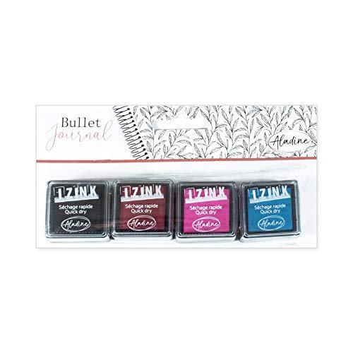 Aladine - Encreurs Star Bullet Journal - Kit de 4 Mini Encreurs Couleur pour Tampons - Scrapbooking et DIY - Personnalisez vos Agendas et Carnets - 4 couleurs - Noir + Rouge + Rose + Bleu