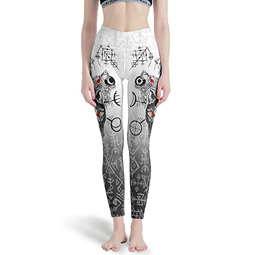 Chartiny Viking Skoll Fenrir Wolf Leggings suaves Pilates pantalones de yoga para mujer