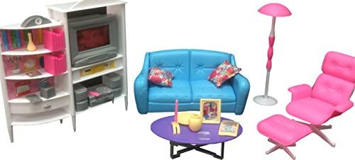 Gloria Dollhouse Furniture – Family Room TV Couch Ottoman Playset