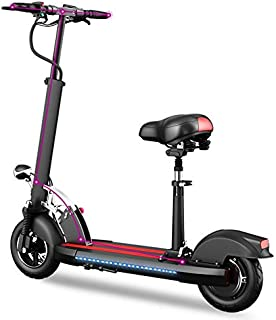 SHI PAO Foldable & Adjustable Electric Scooter with Seat 400W 48V 40km/h, Electronic Kick Scooter Vehicle with Lithium Battery USB LCD Display LED Lights on Table for Adult