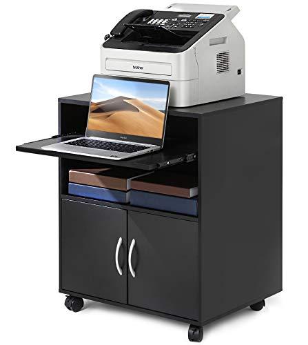 FITUEYES Druckerständer Druckerhalter mit Rädern Holz Weiß 1 Tablett 5 Fächern 1 Tür Wagen Organizer für Büro Zuhause 60x48x74cm PS406002WB