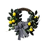 BUANFUA Corona de flores de otoño corona de limón puerta colgador de puerta con corona de festival para puerta delantera, boda, pared, decoración del hogar