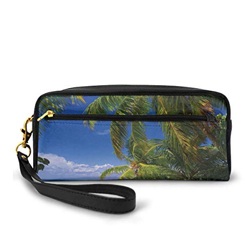 Pencil Case Pen Bag Pouch Stationary,Tropical Paradise at Maldives with Palms Blue Sky Beautiful Beaches Tranquility,Small Makeup Bag Coin Purse