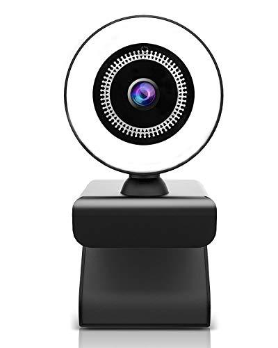 OVIFM Webcam PC con Microfono, 2K HD Webcamper PC con Luce ad Anello Regolabile,Web Came Windows, Mac e Android,Videocamera PC con Autofocus per Videochiamate, Studio,Gioca a Giochi e Lavoro a Casa
