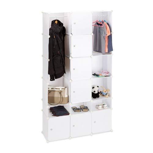 Relaxdays Kledingkast, insteeksysteem van kunststof, garderobe met 2 kledingstangen, veelzijdig reksysteem, wit