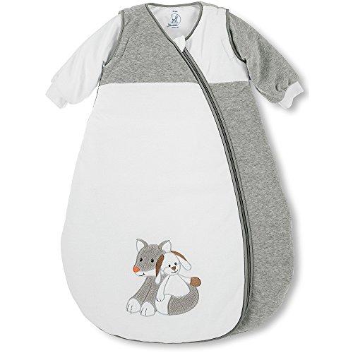 Sterntaler Schlafsack für Kleinkinder, Abnehmbare Ärmel, Wärmeregulierung, Reißverschluss, Größe: 110, Waldis, Weiß/Grau