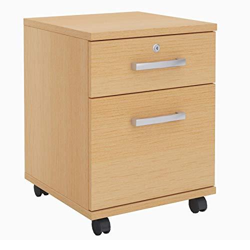 CARO-Möbel Rollcontainer Alberta Bürocontainer Büroschrank in buchefarben, abschließbar mit 2 Schubladen, für Hängemappen