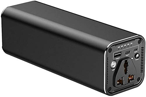 XINGDOZ Powerbank, 31200mAh Externer Akku, Tragbar Ladegerät mit AC Steckdose 100W, mit USB Anschluss, Universal Powerstation Reiseladegerät für MacBook Laptop Pro Handy HP Dell Lenovo (Black-N6)