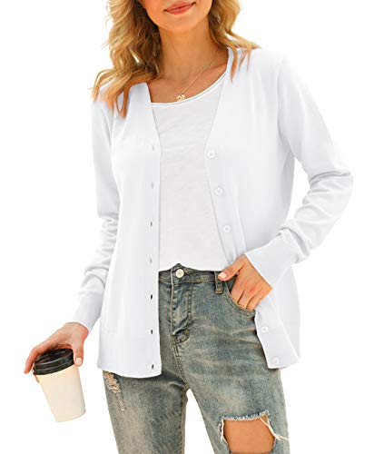 VIISHOW Women's V-Neck Button Down Knitwear Long Sleeve Soft Basic Knit Cardigan Sweater, Pure White, Large