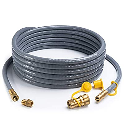 SHINESTAR 24 Feet 1/2-inch ID Natural Gas Hose with Quick Disconnect Fittings for Fire Pit, Generator, Patio Heater, Grill, Comes with 3/8 Female x 1/2 Male Adapter