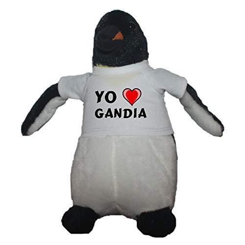 Shopzeus Pingüino Personalizado de Peluche (Juguete) con Amo Gandia en la Camiseta (Ciudad / asentamiento)