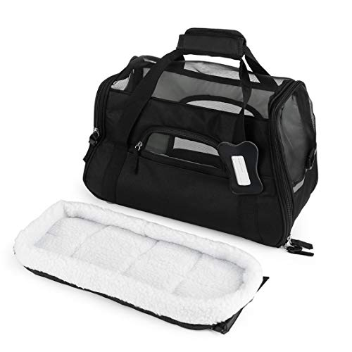 600D Nylon Waterproof Dog Cat Puppy Kitten Bag Pet Carrier Outdoor Travel Carrying Bags Comfortable Soft Bed for Small Pet-Black