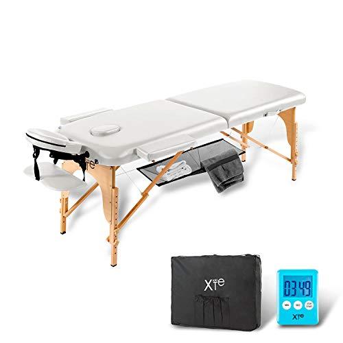 Camilla de masaje, estética, 2zonas, de madera, portátil, color blanco