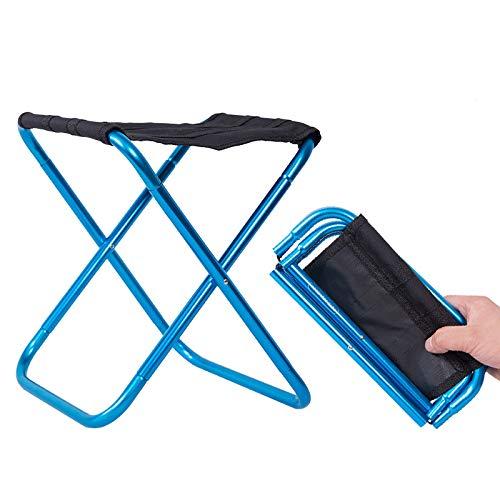 XKMY - Sedia pieghevole pieghevole in alluminio per esterni, sedia da pesca, campeggio, sedia pieghevole ultra leggera, portatile (colore nero e blu)