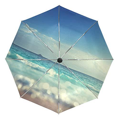 appendiabiti wave XiangHeFu Ombrello Sunset Ocean Wave Auto Apri Chiudi 3 Pieghe Leggero Anti-UV