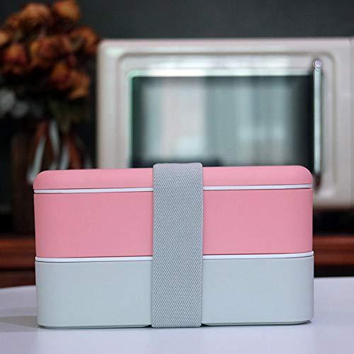 Contenitori per Alimenti Porta Pranzo con Set Lunch Box Doppio Strato, Microonde Riscaldabile, Lunch Box Fitness Compartimentale con Posate
