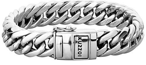 """Kuzzoi """"Buddha"""" Silber-Armband für Herren, handgefertigtes Panzer-Armband glänzend aus massiven 925er Sterling Silber, luxuriöses Herren-Armband Gravur, 14mm breit, 90g schwer 335101-023"""