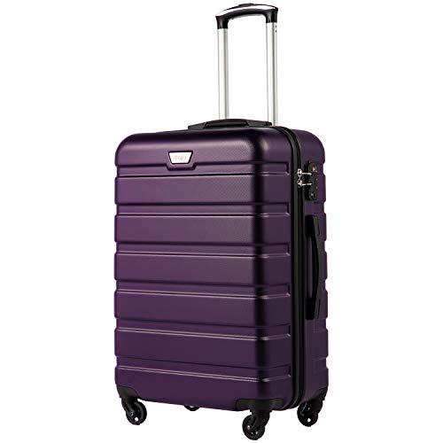COOLIFE Hartschalen-Koffer Trolley Rollkoffer Reisekoffer mit TSA-Schloss und 4 Rollen(Violett, Mittelgroßer Koffer)