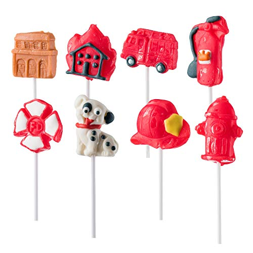 Firefighter Themed Lollipops Fire Shaped Suckers Pack of 8 Pops for Fireman Birthday Party Favor or Parties Decoration