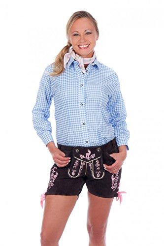 Sexy Damen Trachten Ledershorts braun mit rosa oder weißer Stickerei aus feinstem Rindsveloursleder Gr 32-42
