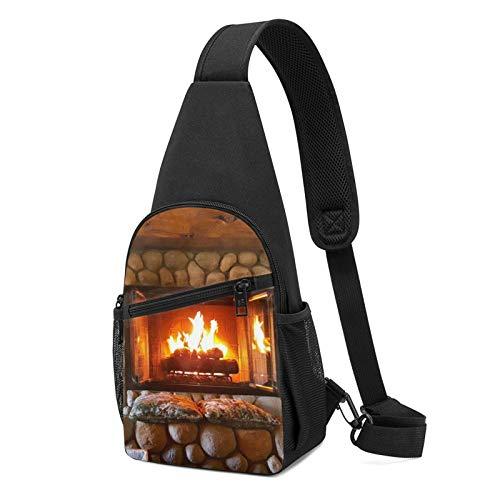Rucksack mit weihnachtlichem Kamin und Neujahr, leicht, Schulter-/Brust-Rucksack, Reise- und Wanderrucksack, Crossbody-Schultertasche, Schwarz - Schwarz - Größe: Einheitsgröße