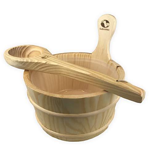 SudoreWell® Saunakübel Set aus Kiefernholz mit hochwertigem Saunakübel und Sauna Schöpfkelle