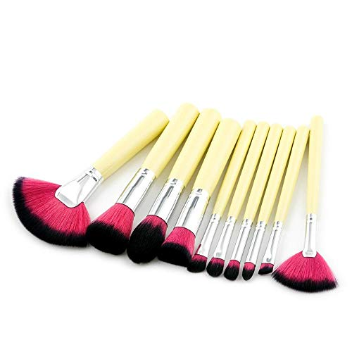 10 outils de maquillage pinceaux de maquillage ont éclaté fissure/poignée jaune/brosse de ventilateur poignée rouge