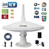 SKYBOXE UFO Over The AIR Antenna 65 Miles + Reception 720°Dual-Omni-Directional Indoor/Outdoor HDTV Antenna Exclusive Smartpass Amplifier & 4G LTE Enhanced VHF/UHF Reception Rooftop/Attic/RV/Marine