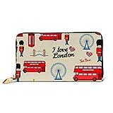 JHGFG Fashion Bag Zipper Wallet Abstract London Pattern Girls Boys Phone Pochette Pochette da sera Blocco in pelle Portafoglio Multi Card Organizer