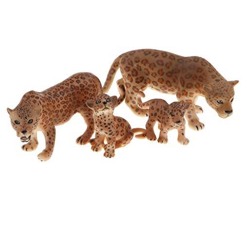 B Blesiya 4 Stück Realistische Jaguar Familien Tiere Figuren Spielzeug Plastiktiere Lernspielzeug für Kinder und Kleinkind