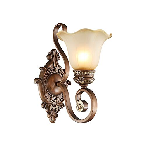 YXLMAONY Lámpara de pared con hardware de metal tallado en resina para interiores, lámpara de decoración del hogar E27 individual, pantalla de vidrio, luz nocturna para iluminación de dormitorio, adec