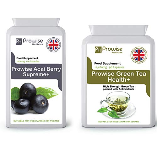 Acai Berry 1000 mg 120 capsules + groene thee 12480 mg 90 capsules - VK vervaardigd volgens GMP Gegarandeerde kwaliteit - Geschikt voor vegetariërs en veganisten door Prowise Healthcare