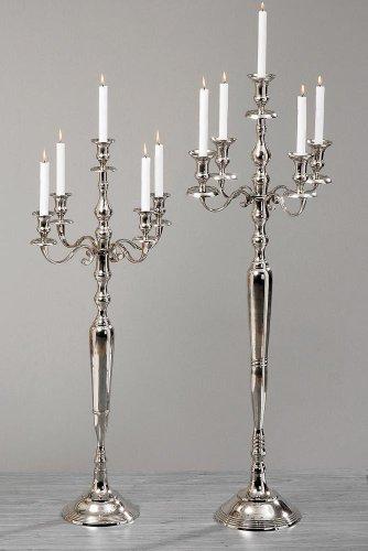 BG VICTORIA Kerzenleuchter Kerzenständer 105 cm hoch Aluminium silber Deko für gehobenes Ambiente