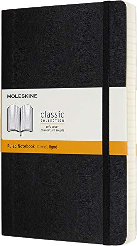 Moleskine Classic Expanded Notebook, Soft Cover, Large (5' x 8.25') Ruled/Lined, Black, 400 Pages