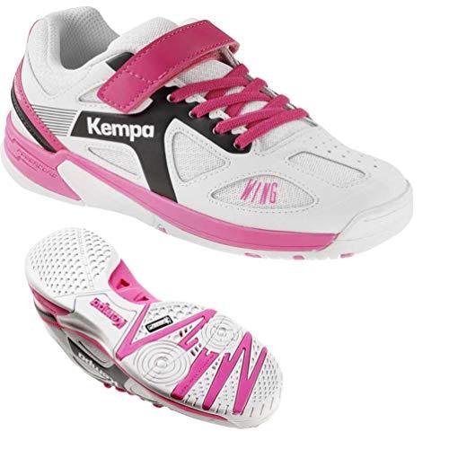 Kempa Schuhe Handballschuhe Turnschuhe für Kinder Mädchen weiß/lila mit Klettverschluss + Kempa Socken (33)