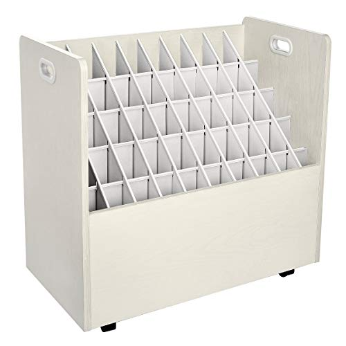 AdirOffice Mobile Blueprint Roll File Holder - Architectural Plan Storage Organizer for Home Office or School Use 50 Slots (White)