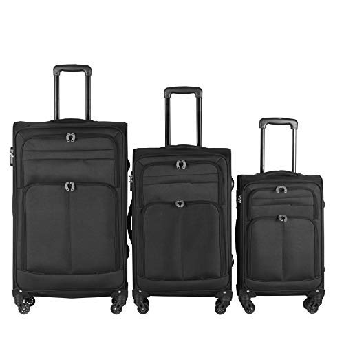 Suitcases – Set of 3 (S, M, L), 37 & 62 & 97 Litre Capacity (H: 61, 71, 81 cm), Fabric, 4 Spinner Wheels, Telescopic Extendable Handle, Lock, Black - Travel Trolley, Luggage