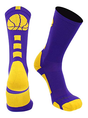 MadSportsStuff Basketball Logo Athletic Crew Socks, Large - Purple/Gold