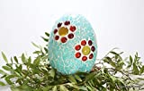 Handgefertigtes Mosaikei türkise Blumenwiese 12 cm