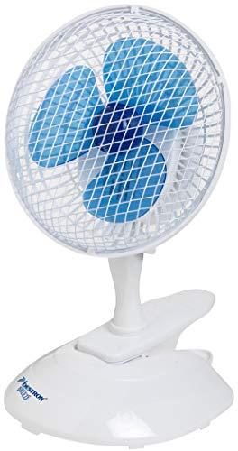 Bestron 2-in-1 tafel-/clip-ventilator, verticaal en horizontaal verstelbaar, hoogte: 33 cm, Ø 19 cm, 15 W, wit