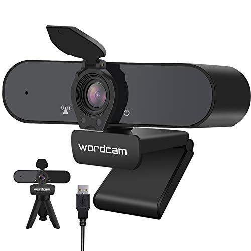 Webcam 1080P con Microfono e Copertura per la Privacy, Desktop o Laptop con Webcam HD, Webcam Streaming per videochiamate, conferenze, Giochi, lezioni Online, Clip Girevole Flessibile e treppiede