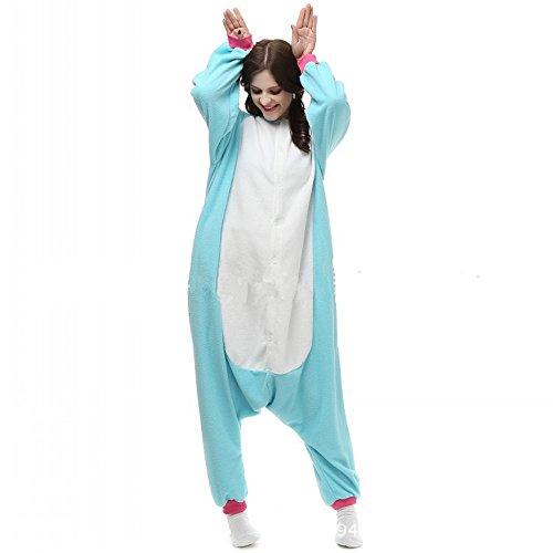 misslight Einhorn Pyjama Damen Jumpsuits Tieroutfit Tierkostüme Schlafanzug Tier Sleepsuit mit Einhorn Kostüme Festival tauglich Erwachsene (M, Blue)