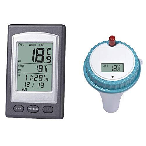 Writtian Wasser Thermometer Digitales Teich- und Poolthermometer mit LCD-Funk-Empfänger, Funkthermometer Pool WLAN Thermometer poolthermometer schwimmend Pool zubehör