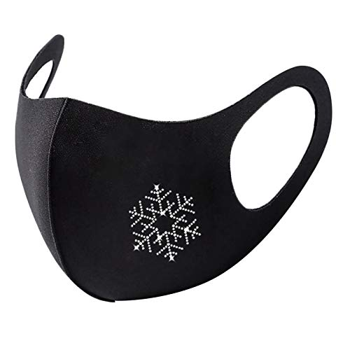 JMETRIE Adult Christmas Masks Fashionable Flash Diamond Printing Mask Outdoor Protection Reusable Face Mask 1PC