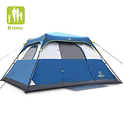 QOMOTOP Tent for Camping, 6 Person Instant Tent Equipped with Rainfly and Carry Bag, Water-Proof Pop up Tent with Electric Cord Acess, Light Weight Cabin Style Tent, Delivered Within 3-5 Working Days