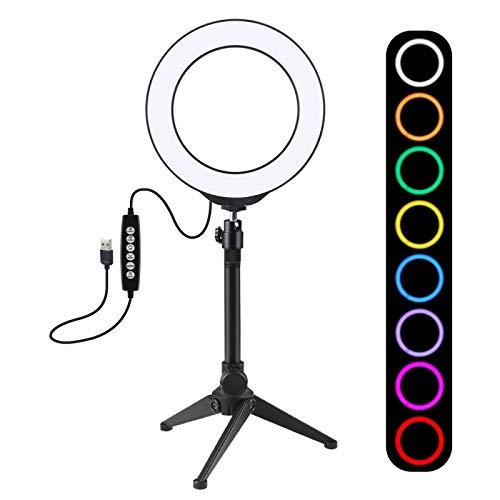 USB Selfie Anillo Luz de 6,2 pulgadas 16 cm 10 Mé humor 8 Colores RGBW Dimmable LED anillo Vlogging Luces de video + Soporte de trípode de escritorio con zapato frígido Cabeza de bola de trípode (negr