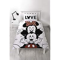 Disney - Funda de edredón con Funda de Almohada a Juego de Mickey & Minnie Mouse, Reversible, Dos Caras, polialgodón, Color Gris y Blanco