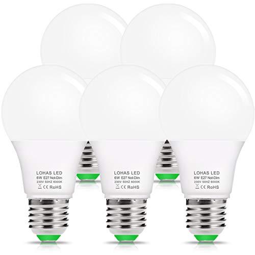 Lohas E27 Ledlamp, 6 W, koudwit 6000 K, 520 lm, vervangt 40 W halogeen/gloeilamp, niet dimbaar, A60 LED-lampen, voor vloerlamp en tafellamp, 240 graden stralingshoek, verpakking van 5 stuks