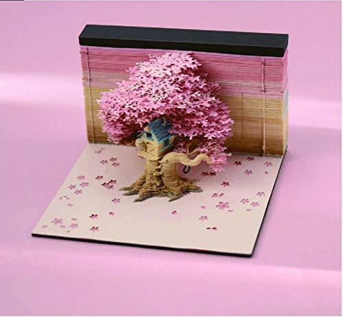 Craft Paper Memo 3D Art Notepad Memo Pad with Lights Dispenser, Funny Cute 3D Paper Treehouse Art Notepads Building Block Kawaii Sticky Notes 3D for Child/Lover/Friends/Wife/Student